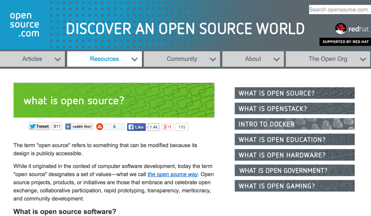 Opensource.com screenshot