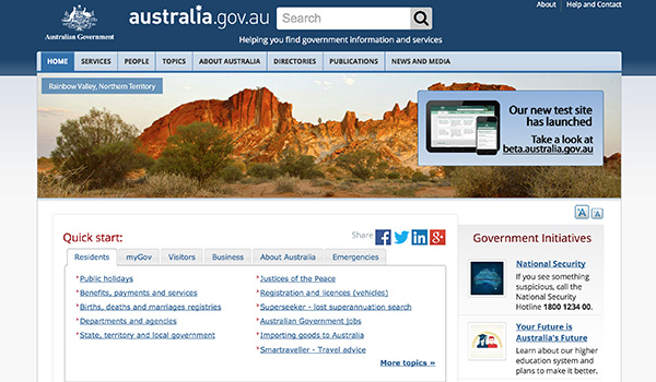 Australian Government Screenshot