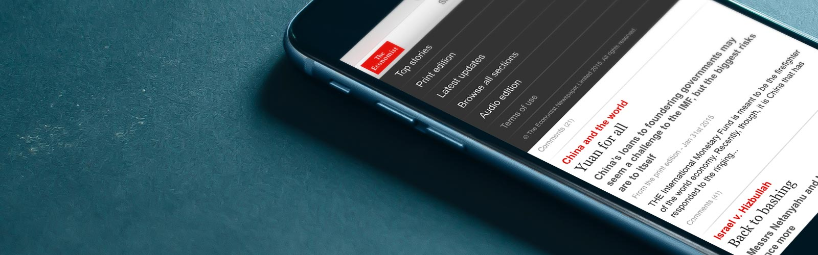 Economist Espresso app on a smartphone screen