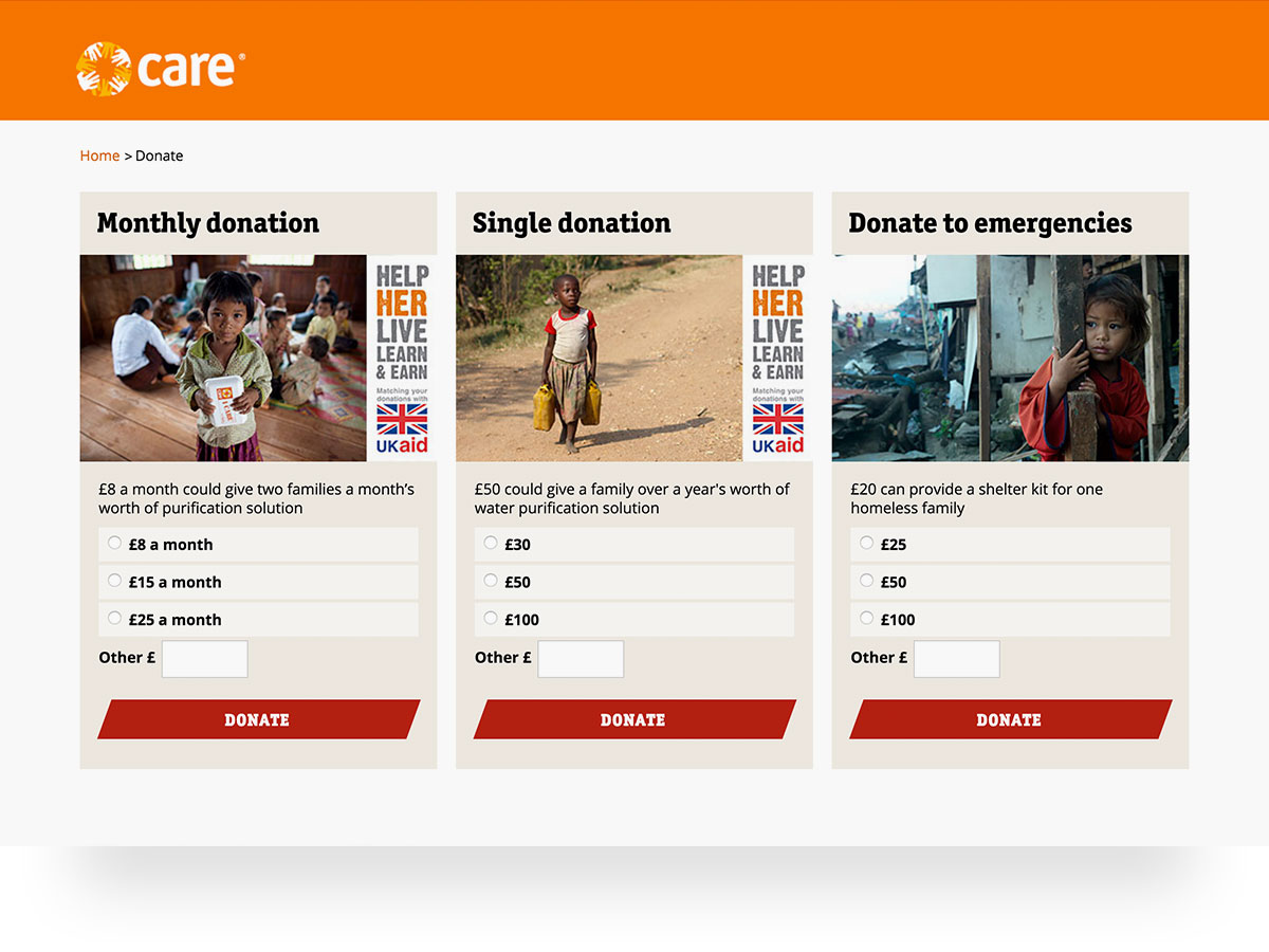 Screenshot of CARE donation page