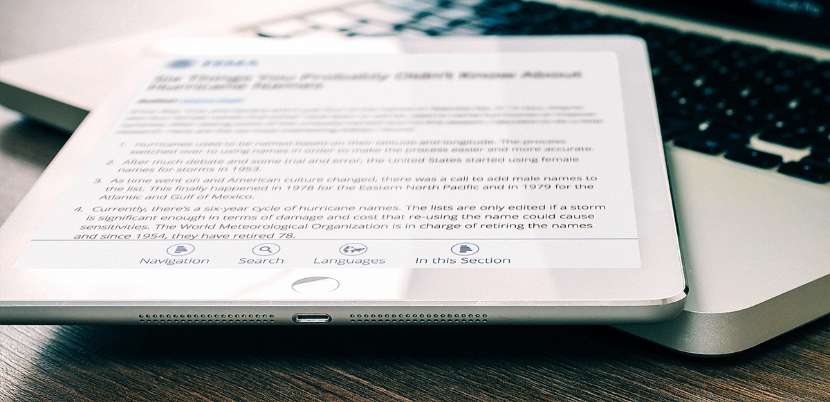 Image of FEMA website on tablet