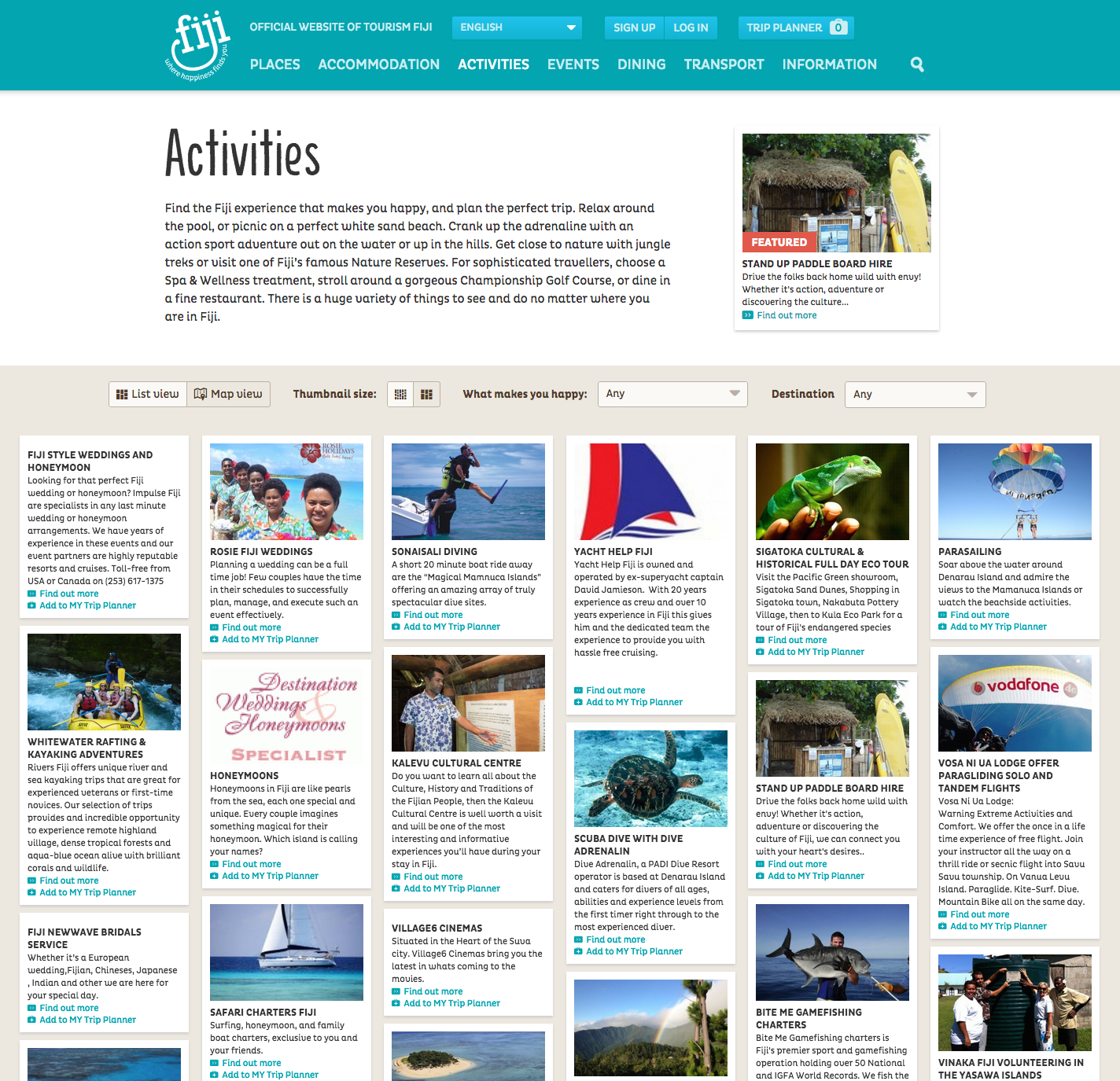 Fiji.travel activities landing page w/ teasers
