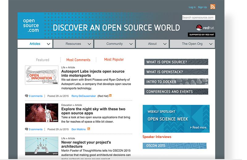Homepage screenshot of opensource.com