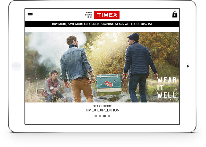 Timex homepage on iPad